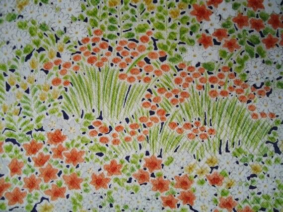 Vintage Kimono Silk Fabric Orange, Yellow, Green Flowers