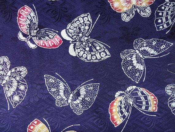 Vintage Kimono Silk Fabric Navy Blue Rinzu with Butterflies
