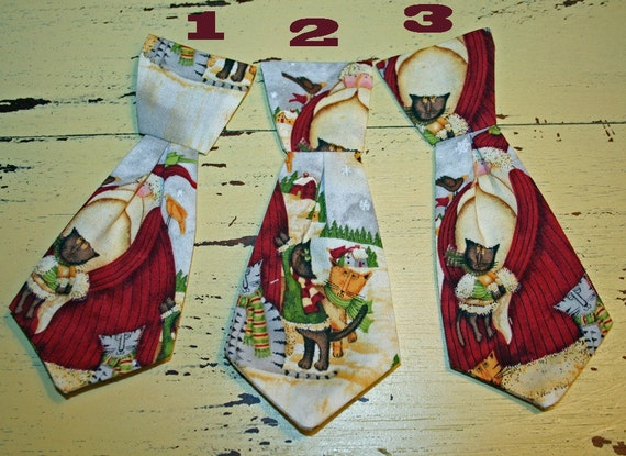 Cat Necktie - Santa and Kitties - For your Cat in the Clover Collared Band