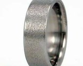 Titanium Ring with Frosted Top and Comfort Fit - Lifetime Warranty