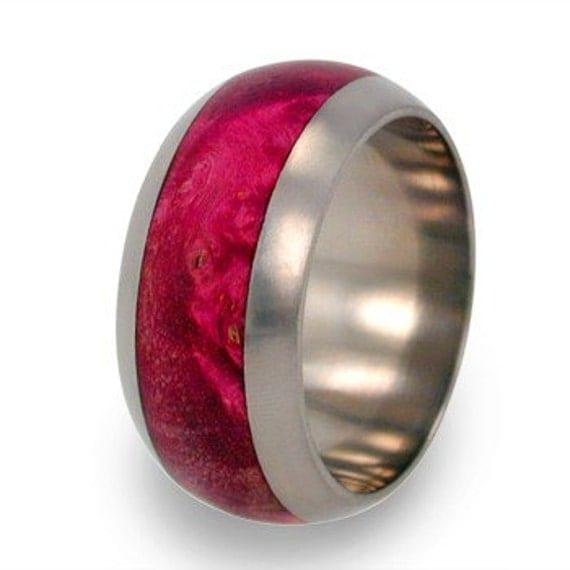 Womens Titanium Ring, Pink Box Elder Burl Wood, Wedding Band, Ring Armor Included