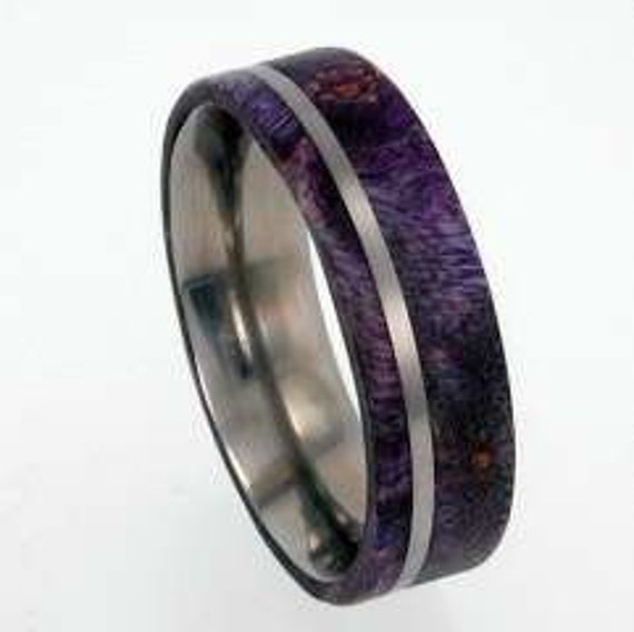 purple box elder burl wood ringwomens wedding by