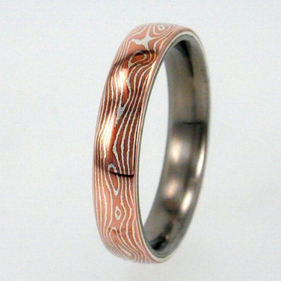 Mokume Gane Inlay Mens Or Womens Titanium Ring By