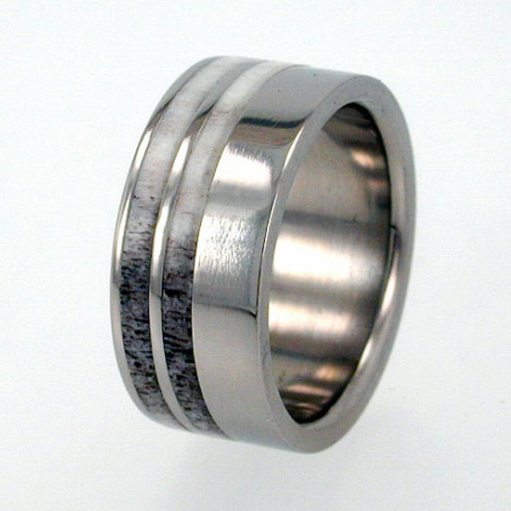 mens titanium ring with deer antler inlays - Deer Antler Wedding Rings