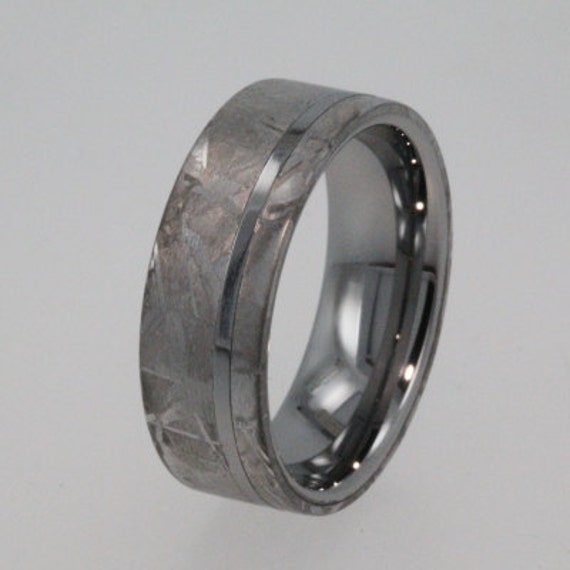Meteorite Ring, Tungsten Wedding Band, Inlaid with solid Gibeon Meteorite