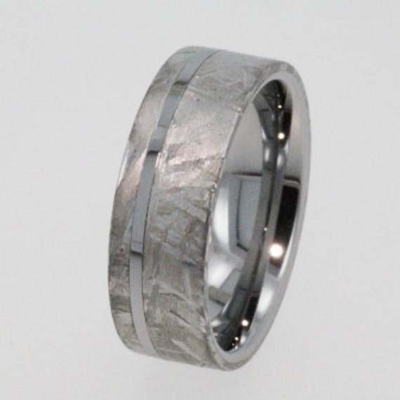 Meteorite Ring Tungsten Wedding Band inlaid with solid Gibeon Meteorite - 8mm