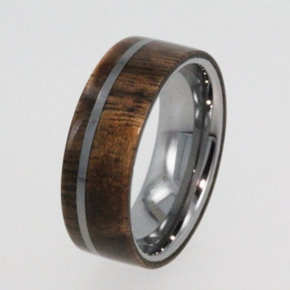 mens tungsten wedding band inlaid with black mesquite and