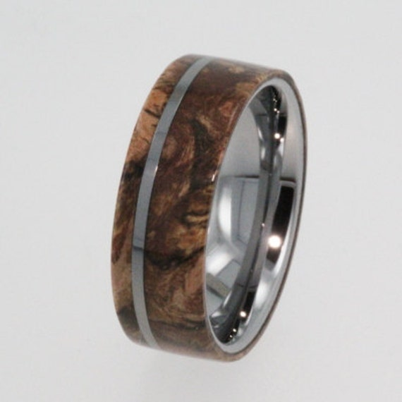 Tungsten Wedding Bands Wood Wedding Ring With By Jewelrybyjohan
