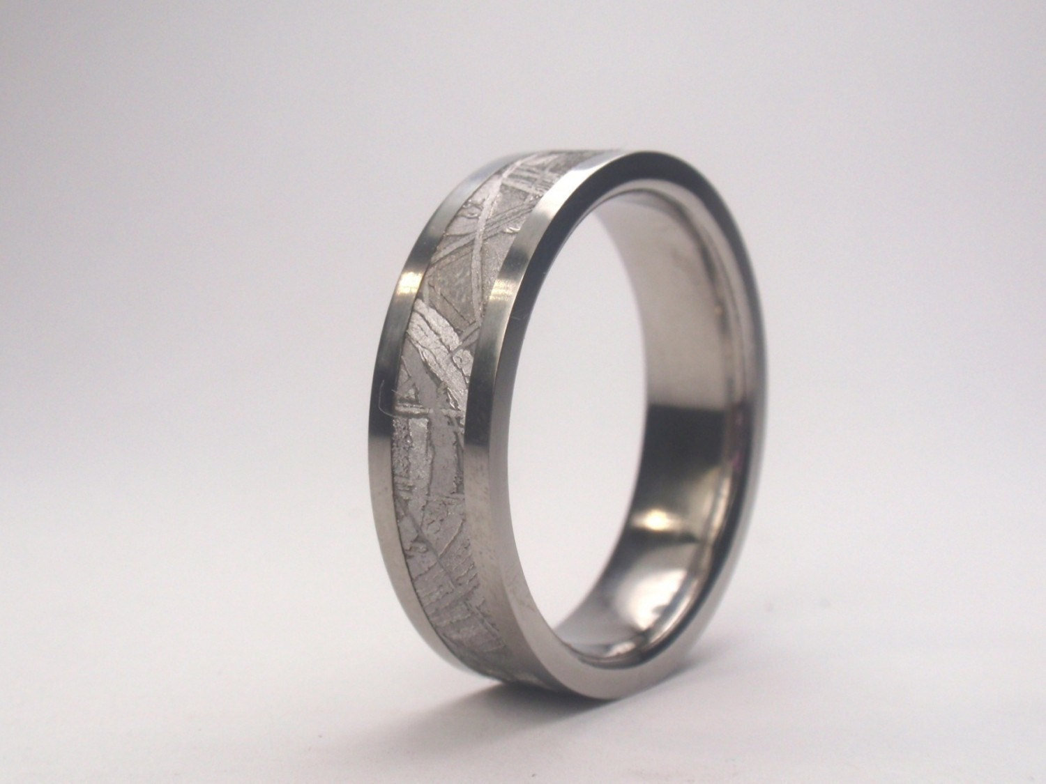 Mens Meteorite Wedding Band Mens Titanium Ring By Jewelrybyjohan