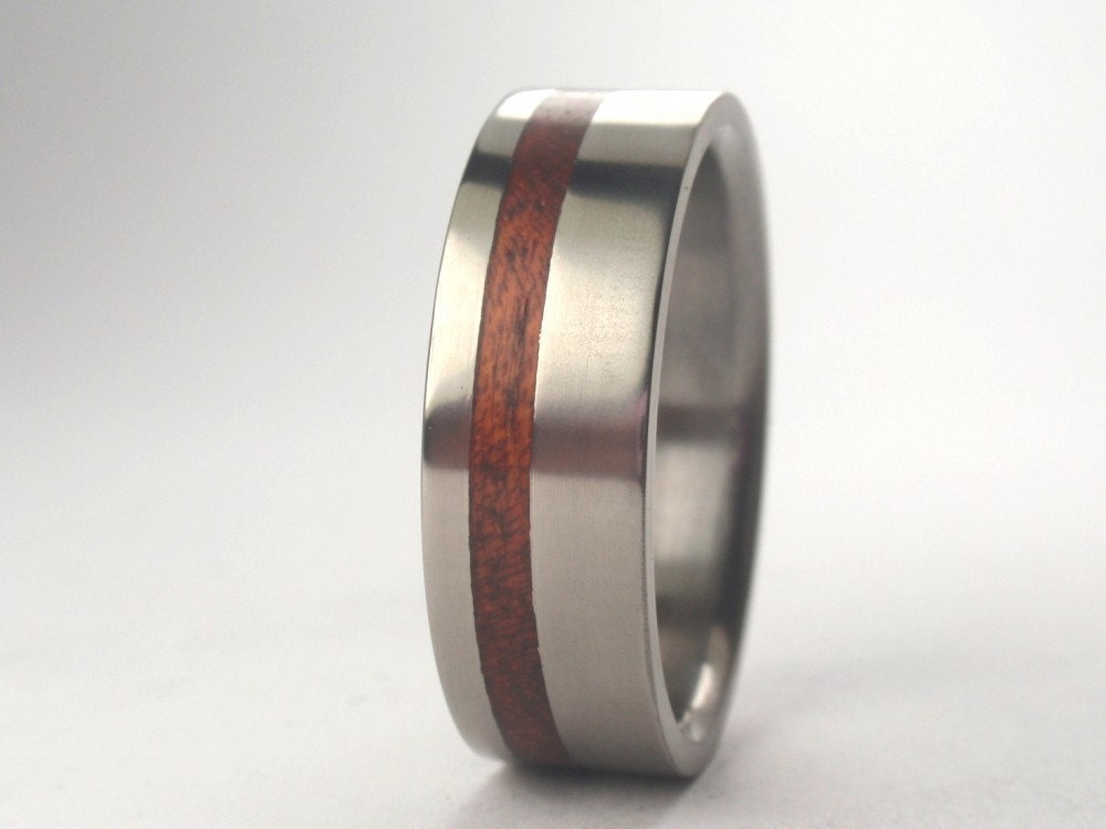 wood ring wooden band a titanium ring with by jewelrybyjohan