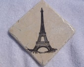 Eiffel Tower Tumbled Marble Tile Drink Coasters (4)