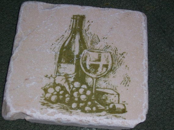Wine And Chesse Hand Stamped Tumbled Marble Tile Coasters Set