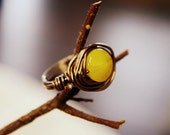 Wire Wrapped Ring - Sunny Yellow - One of a Kind