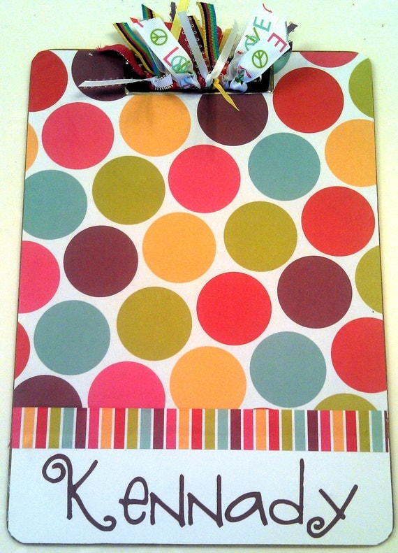 Colorful Dot Clipboard with Free Personalization