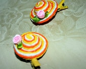 Yellow and Orange Striped Straw hat Hair Clip - 2 Pieces