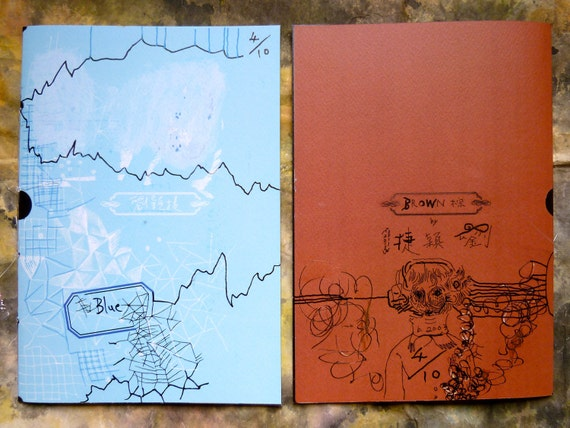 Blue x Brown  (Art Book - Set of 2) ..... Number 4 : with original drawing