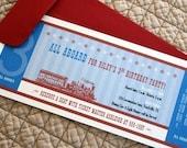 Retro Train Ticket Birthday Party Invitations - Set of 10