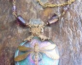 Necklace of Czech Glass Dragonfly Button  in Brass Filigree