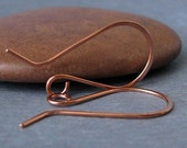 Copper Earwires, Handmade Big French Hoops, 3 pair - Artisan Findings Made in USA