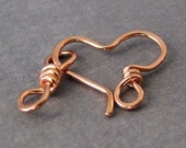 Hammered Copper Heart Clasp and Eye Link, Handmade 18 gauge (OWC) - Made in USA