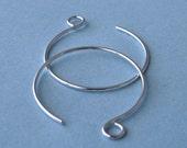 Sterling Silver Large Hoop Earring Findings, Handmade Ear Wires - Made in USA