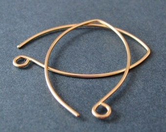 Large Hoop Ear Wires, 14k Gold Filled, Handmade Earring Findings, Big Leaf - Made in USA