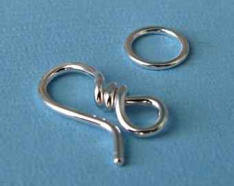 Handmade Small Hook Clasp, Sterling Silver Jewelry Findings, 18g (OWC) - Made in USA