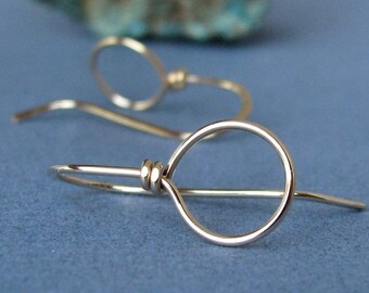 14k Gold Filled Ear Wires, Handmade Earring Findings, Big Loop Wild West - Made in USA