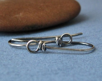 Antiqued Ear Wires, Sterling Silver Wild West Front Loops, Handmade Earring Findings - Made in USA