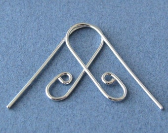 Handmade Ear Wire Findings, Sterling Silver Interchangeable Slide n Go, 2 pairs - Made in USA
