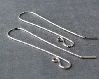 Super Long Sterling Silver Earwires, Handmade Earring Findings, Slender French - Made in USA