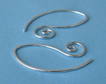 Sterling Silver Earring Findings, Handmade Earwires, Interchangeable Swirly Leafettes, 2 pairs - Made in USA