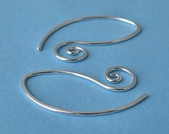 Swirly Leafette Earrings, Sterling Silver Handmade Earwires, Interchangeable - Made in USA