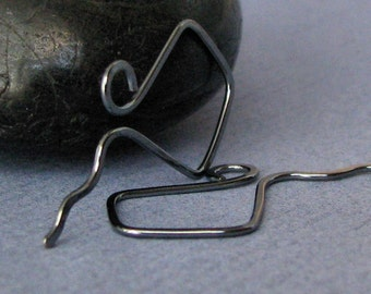 Gunmetal Ear Wires, Hammered Wavy Kites, Handmade Sterling Silver, Signature Series - Made in USA