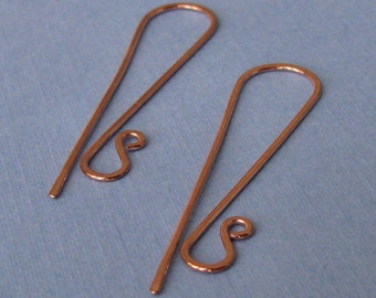 Super Long Handmade Copper Earwires, Hammered Interchangeable Earring Findings - Slenders, Made in USA