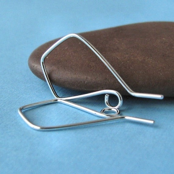 Sterling Silver Ear Wires, Triangle Handmade Signature Kite Earwires, 3 pairs - Made in USA