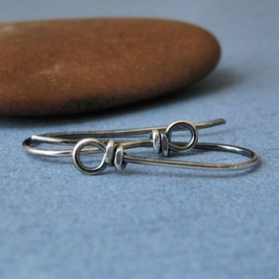 Sterling Silver Earwires, Antiqued Handmade Wild West Front Loop, 2 pairs - Made in USA