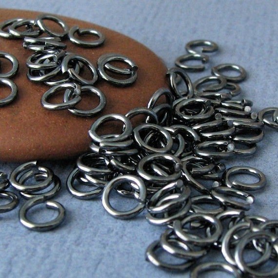 4mm Jump Rings, Oxidized Sterling Silver, Handmade Findings, 25 pieces 18g - Gunmetal