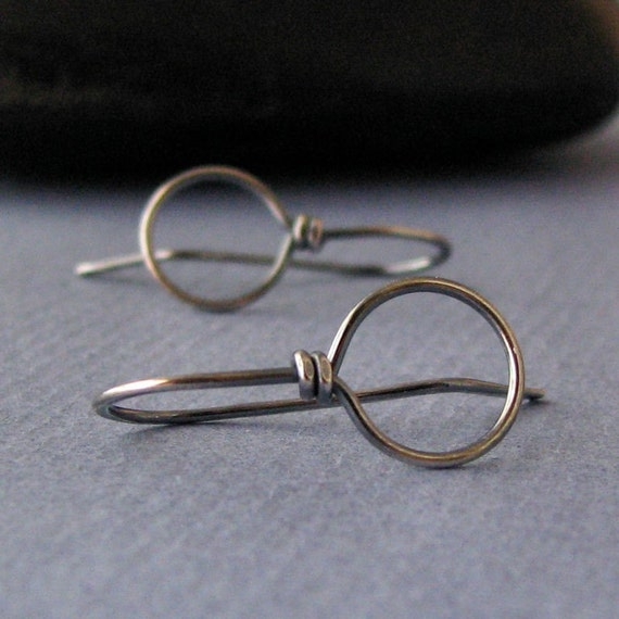 Antiqued Sterling Silver Earwires, Oxidized Earring Findings, Handmade Front Facing Big Loops, 20g - Made in USA