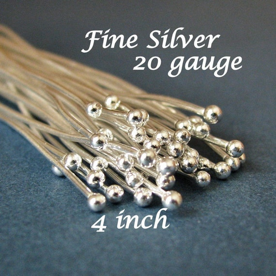 10 Extra Long 4 Inch Fine Silver Handcrafted 20 Gauge Headpins