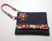 Denim Wristlet Zipper Pouch with Amy Butler Disco Flower Soul Blossom
