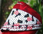 Black White and Red with Scotties All Over  Handmade Cycle Cap