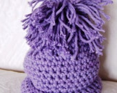 Crochet Hat - for Newborn Infant - Lavender