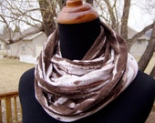 Infinity Scarf - Loop Scarf - T shirt knit - Coral and Brown - Tie Dye - Eternity Scarf - Circle Scarf