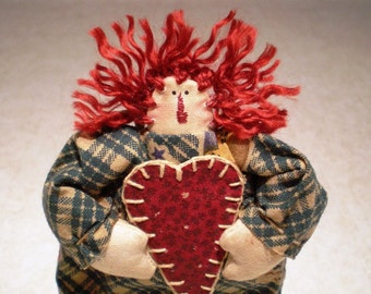 Raggedy Annie Dollie, Ornament, Peg Hanger, Handstitched Heart, Christmas in July