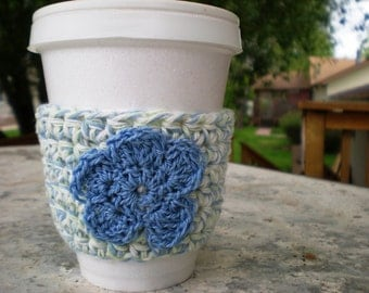 Crochet Cup Cozy - Cool Blue