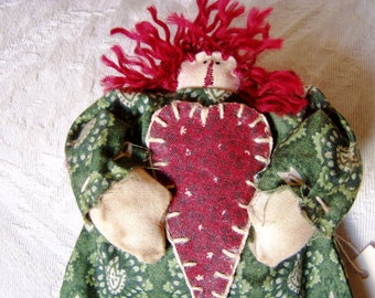 Annie - Mini Ornament or Peg Hanger - with Valentine Heart