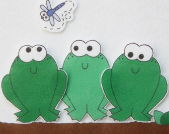 5 Speckled Frogs - ePattern for Print and Play Felt Figures