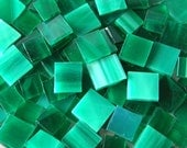 210 Piece Beautiful Teal Stained Glass Mosaic Tiles 2 Shades