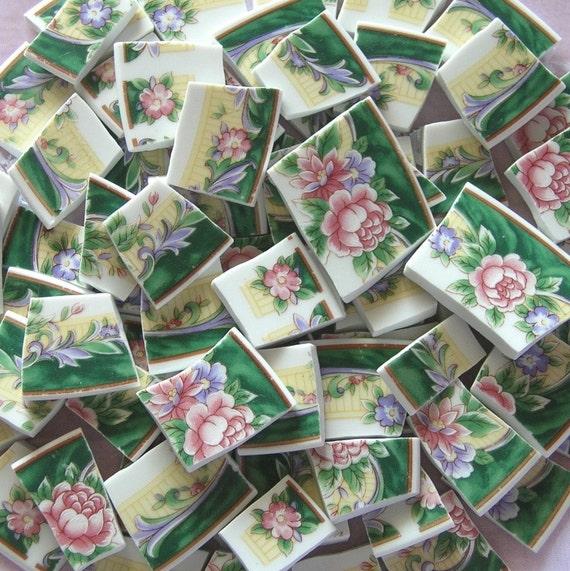 Lovely Shabby Cottage Pink Rose Green Rims Mosaic Tiles
